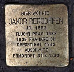 Photo of Jakob Bergoffen brass plaque