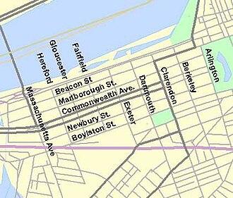 Back Bay, Boston - Principal streets of Back Bay.