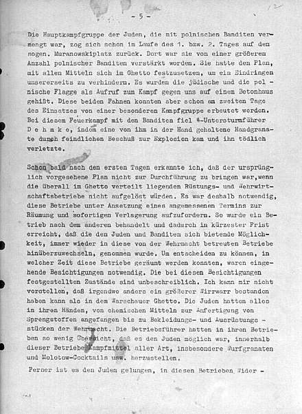 "Page 5 of Stroop Report describing German fight inside ghetto against ""Juden mit polnischen Banditen"" - ""Jews with Polish bandits"". Strp012 Jurgen Stroop report p5.jpg"