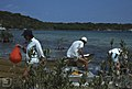 Students come ashore at head of lagoon. Little San Salvador. (38154445194).jpg