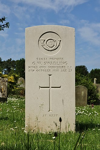 King's Own Yorkshire Light Infantry - CWGC headstone in Rose Hill Cemetery, Cowley, Oxfordshire of a KOYLI private who died a month before the Armistice