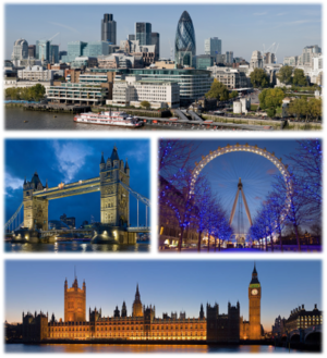 Top: Panorama of the City of London, Middle left: Tower Bridge, Middle right: London Eye, Down: Palace of Westminster