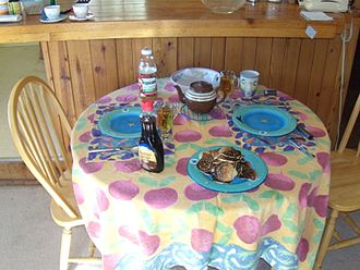 Table setting - Informal setting with pancakes in a California mountain cabin.
