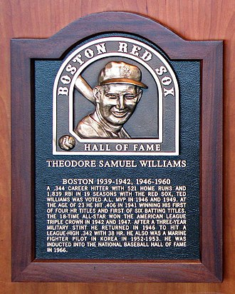 Ted Williams - Plaque of Ted Williams in Boston Red Sox Hall of Fame at Fenway Park.