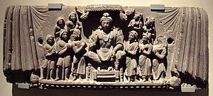 Yogachara - Maitreya and disciples. Gandhara, 3rd century CE