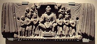 Yogachara - The bodhisattva Maitreya and disciples, a central figure in Yogacara origin myth. Gandhara, 3rd century CE