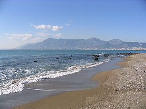 Monti Lattari - View of the Monti Lattari from the Gulf of Salerno.