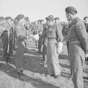 3rd Parachute Brigade (United Kingdom) - General Sir Bernard Montgomery greets RSM A. Parsons of the 8th (Midlands) Parachute Battalion during an inspection of the 6th Airborne Division at Bulford, Wiltshire, 8 March 1944.