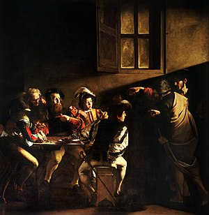 Baroque painting - The Calling of Saint Matthew (1599–1600), by Caravaggio. Contarelli Chapel, San Luigi dei Francesi, Rome. The beam of light, which enters the picture from the direction of a real window, expresses in the blink of an eye the conversion of St Matthew, the hinge on which his destiny will turn, with no flying angels, parting clouds or other artifacts.
