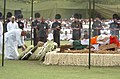 The Former Prime Minister, H D Devagowda laying wreath at the mortal remains of the former Prime Minster, Shri Chandra Shekhar at the funeral pyre, in Delhi on July 09, 2007.jpg