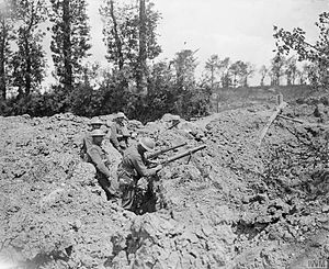 27th Infantry Brigade (United Kingdom) - Men of the 12th (Service) Battalion, Royal Scots manning the lip of a mine crater at Meteren, 23 June 1918.
