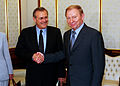 The Honorable Donald H. Rumsfeld (left), U.S. Secretary of Defense, and Ukrainian President Leonid Kuchma (right), shake hands in Kiev, Ukraine, on Jun. 5, 2001 010605-D-WQ296-091.jpg