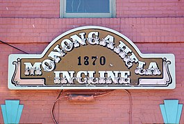 the sign on the terminal showing Monongahela Incline 1870