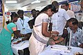 The Medical Officer examining a patient at the medical camp organised on the third day of the Bharat Nirman Public Information Campaign, at Paramakudi in Ramanathapuram district, Tamil Nadu on August 09, 2010.jpg