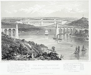 The Menai suspension and Britannia tubular bridges