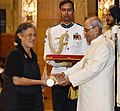 The President, Shri Pranab Mukherjee presenting the Padma Bhushan Award to H.R.H. Princess Maha Chakri Siridhorn , at a Civil Investiture Ceremony, at Rashtrapati Bhavan, in New Delhi on March 30, 2017.jpg
