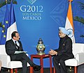 The Prime Minister, Dr. Manmohan Singh meeting the President of France, Mr. Francois Hollande, on the sidelines of the G-20 Summit, at Los Cabos, Mexico on June 19, 2012.jpg