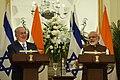 The Prime Minister, Shri Narendra Modi and the Prime Minister of Israel, Mr. Benjamin Netanyahu during Press Statement, at Hyderabad House, in New Delhi on January 15, 2018.jpg