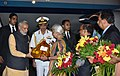 The Prime Minister, Shri Narendra Modi being received by the Governor of Goa, Smt. Mridula Sinha, the Chief Minister of Goa, Shri Laxmikant Parsekar and other dignitaries, on his arrival, in Goa on October 14, 2016.jpg