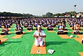 The Prime Minister, Shri Narendra Modi participates in the mass yoga demonstration, on the occasion of the 4th International Day of Yoga 2018, at the Forest Research Institute, in Dehradun, Uttarakhand on June 21, 2018.JPG