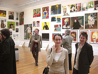 The Stuckists Punk Victorian - The Stuckists Punk Victorian show at the Walker Art Gallery, Liverpool, 2004. Foreground: artists Rachel Jordan and Paul Harvey. Between them (back turned): Bill Lewis. Background paintings, left to right: Wolf Howard, Mandy McCartin, Charles Thomson, Ella Guru.