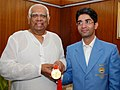 The first winner of an individual Gold Medal for India at the Beijing Olympic Games and International Shooting Ace, Shri Abhinav Bindra meeting with the Speaker, Lok Sabha, Shri Somnath Chatterjee, in New Delhi.jpg