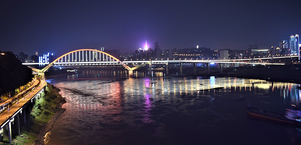 The night view of Chaotianmen bridge acoross Yangtze river in Chongqing