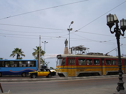 An Alexandria tram The yellow tram passing through Saad Zaghloul's square.jpg