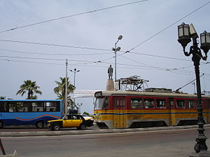 The yellow tram passing through Saad Zaghloul's square