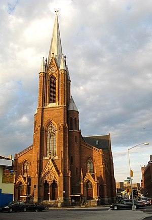 Flushing Avenue - All Saints Catholic Church at Flushing and Throop Avenues