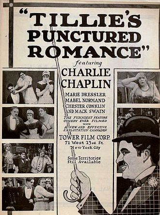 Tillie's Punctured Romance (1914 film) - Re-release poster with different billing and picture featuring Chaplin's Tramp, who does not appear in the film