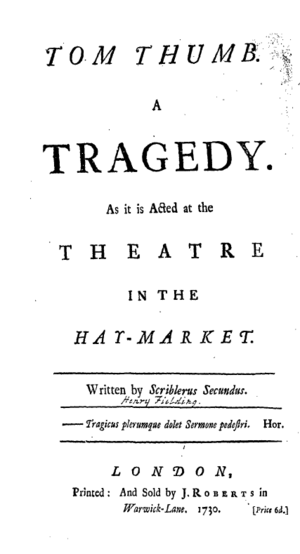 Tom Thumb (play) - Titlepage to Tom Thumb: a Tragedy