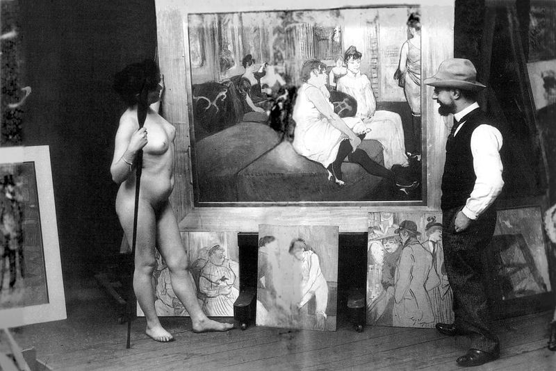 Archivo:Toulouse-Lautrec in his workshop with a nude model (photo by Maurice Guibert).jpg