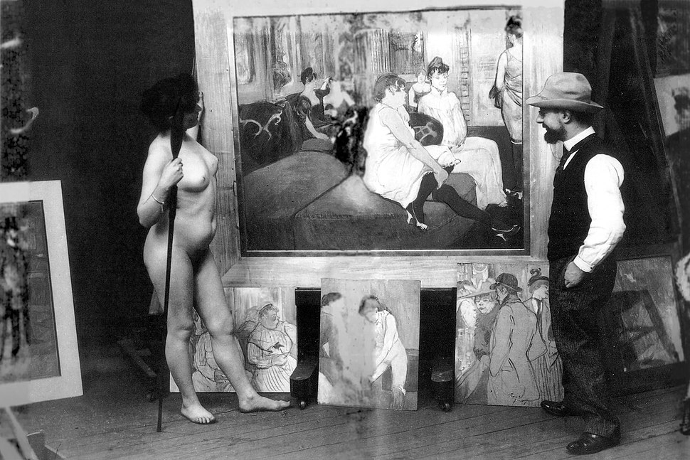 Toulouse-Lautrec in his workshop with a nude model (photo by Maurice Guibert)