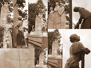 Walter Gilbert (sculptor) - A collage of the war memorial in the grounds of Towneley Hall, near Burnley, Lancashire