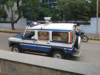 Speed limit enforcement - Traffic Speed Interceptor - Vehicles with speed camera used by Bangalore Police, India