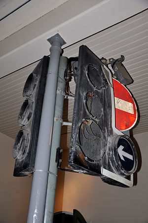 1996 Manchester bombing - A damaged traffic light that stood on the corner of the junction between Cross Street and Market Street at the time of the explosion, now in the Museum of Science and Industry