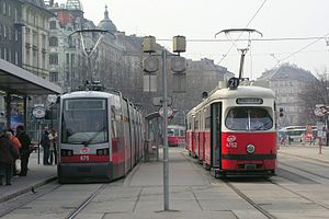 Trams in Vienna - Type B and E1 trams at Schwedenplatz.