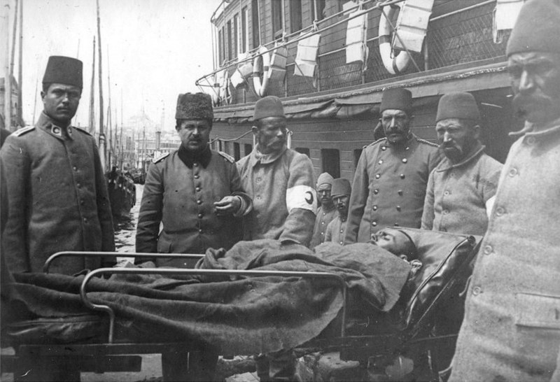 Transporting Ottoman injured at Sirkedji.jpg