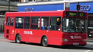 Travel London - Plaxton Pointer bodied Dennis Dart on route C1 at Victoria station in April 2008