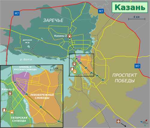 Travel map of Kazan