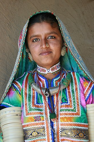 Adivasi - Woman of Banni tribe in traditional attire from Gujarat
