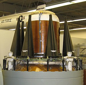 Trident nuclear programme - Black re-entry vehicles containing the warheads on a Trident missile at the National Museum of Nuclear Science & History in New Mexico
