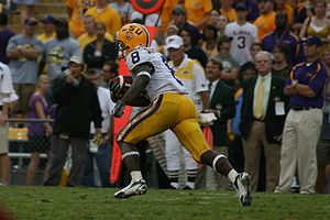 2007 LSU Tigers football team - LSU WR Trindon Holliday returns a kickoff in the second half against South Carolina.