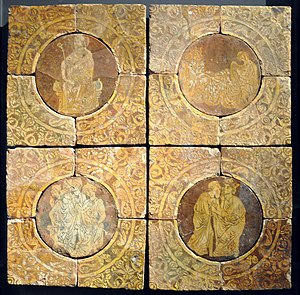 Tristan - Scenes from the story of Tristan on 13th century tiles from Chertsey Abbey