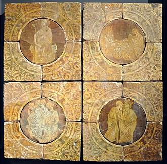 Tristan - Scenes from the story of Tristan on 13th-century tiles from Chertsey Abbey