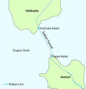 Tappi-Kaitei Station - Map showing the Seikan Tunnel and the two underground stations
