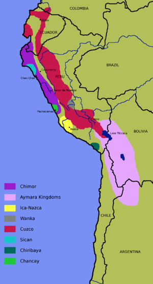 Topa Inca Yupanqui - Map of the expansion of the Inca Empire under Topa Inca Yupanqui