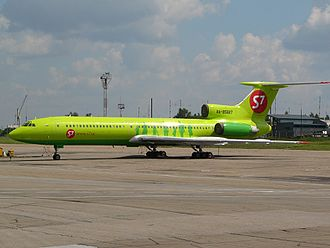 International Airport Irkutsk - S7 Airlines Tupolev Tu-154M in new livery parked at Irkutsk Airport.