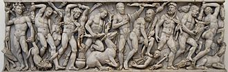 Labours of Hercules - Roman relief (3rd century AD) depicting a sequence of the Labours of Hercules, representing from left to right the Nemean lion, the Lernaean Hydra, the Erymanthian Boar, the Ceryneian Hind, the Stymphalian birds, the Girdle of Hippolyta, the Augean stables, the Cretan Bull and the Mares of Diomedes